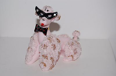 """Pink Spaghetti Poodle Figurine with Cat Eye Glasses Repaired Tail 5"""" Wide"""