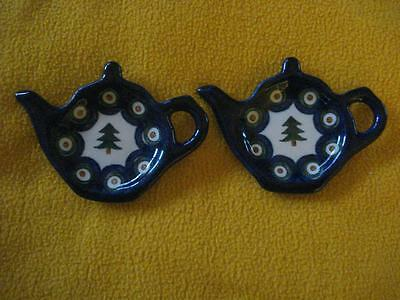 Vintage Lot Of 2 Hand Made Polish Tea Bag Holders (Made In Poland)