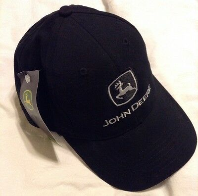 JOHN DEERE *BLACK HIGH CROWN STRUCTURED PANEL* Twill CAP HAT *BRAND NEW*+