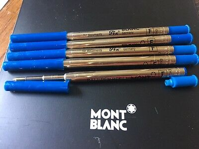 Authentic 5 Lot/set Montblanc Ballpoint (F) Fine Blue Ink Refills W/extensions