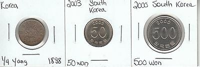 Korea: Collection of 3 Different Circulation Coins