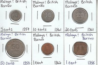 Malaya & British Borneo: Collection of 6 Different Circulation Coins - Lot i