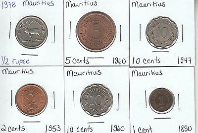 Mauritius: Collection of 6 Different Circulation Coins