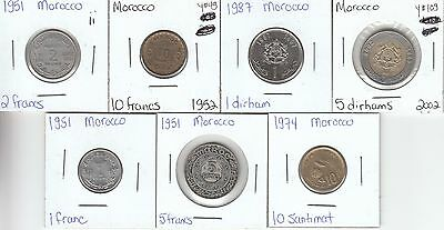 Morocco: Collection of 7 Different Circulation Coins - Lot ii