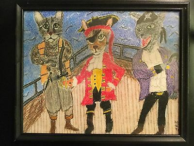 """""""Pirate Cats """" Original Pastel Drawing, 8""""x10""""in frame"""