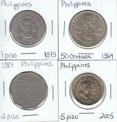 Philippines: Collection of 4 Different Circulation Coins