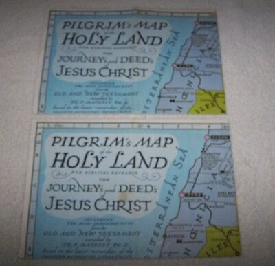 2 Pilgrim's Map of the Holy Land by Alitalia Jackson Travel Tours Tyler Texas