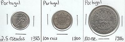 Portugal: Collection of 3 Different Circulation Coins