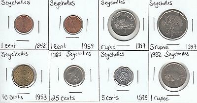 Seychelles: Collection of 8 Different Circulation Coins