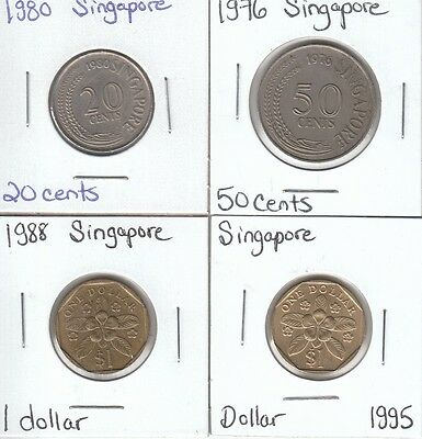 Singapore: Collection of 4 Different Circulation Coins