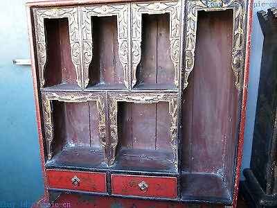 "28"" China old handwork lacquerware wood picture display cabinet statue"