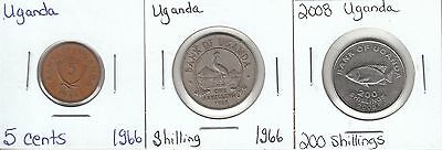 Uganda: Collection of 3 Different Circulation Coins