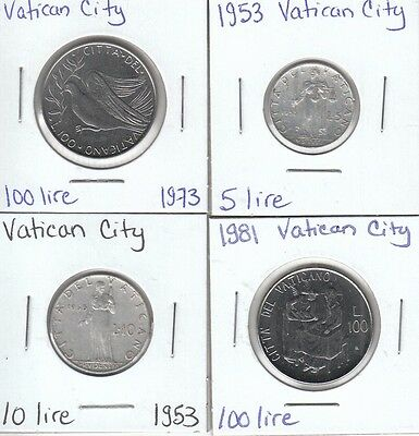 Vatican City: Collection of 4 Different Circulation Coins