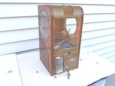 Victor Grandad 5Cent Gum Peanut Candy Vending Machine Wood Cabinet Coin-Op Works