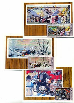 RUSSIA - 1978 y - Maxicards set of 5  - Kustodiev