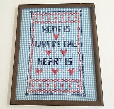 "Gingham Chicken Scratch ""Home is Where the Heart Is"" Framed Blue & Red 12 x 15"