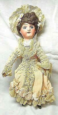 """8"""" Antique Arthur Schoenau & Hoffmeister Bisque Doll Clothes wood body Germany"""