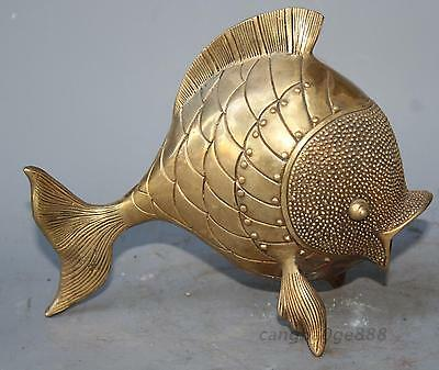 18cm China Fengshui Brass Copper Hand Carving Wealth Year Fish Auspicious Statue