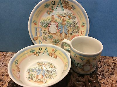 "Vintage (?) Wedgwood England Peter Rabbit ""A,B,C"" 3 PC Childs Dinnerware Set"