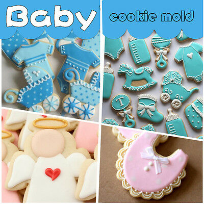 HOT Creative Stainless Steel Baby Shower Milk Bottle Bib Cookie Cutter Cake Mold