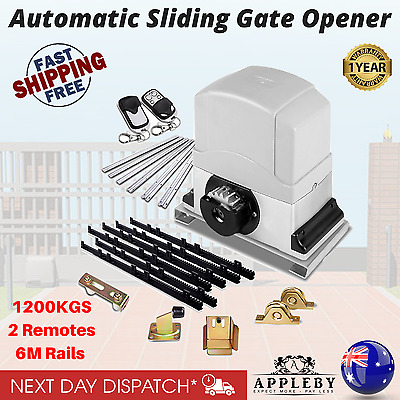 Heavy Duty Electric Sliding Gate Opener Auto Motor Remote 1200KG 6M Rail Kit