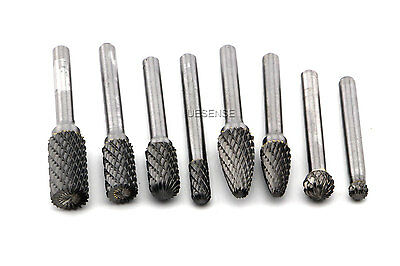 "8pcs Double Cut Tungsten Carbide Rotary Burr Set Bur File Tool w/ 1/4"" Shank"