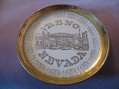Reno, Nevada Collector Plate w/ information printed on the back (Gold)