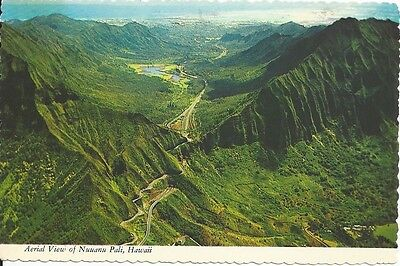 """Vintage collectible 4"""" x 5.75"""" Aerial View of Nuuana Pali Hawaii 1976 posted"""