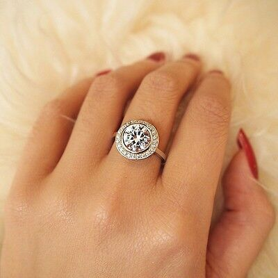 925 STERLING SILVER Simulated Diamond Halo Engagement Ring Size 5 6 7 8 J L N P