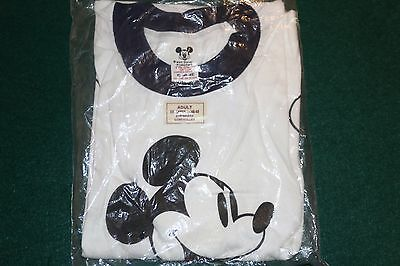 Vintage 1980's Walt Disney Productions Mickey Mouse Ringer T-Shirt New In Bag Xl