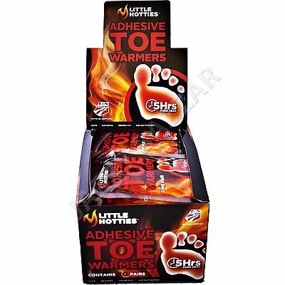 TOE WARMERS 30 Pairs 60 Little Hotties ADHESIVE Feet Foot Sole Warmer Hand Ski