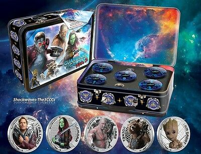 Guardians Of The Galaxy Silver 5-Coin Set Lunchbox Case With Extras - Sale 5%