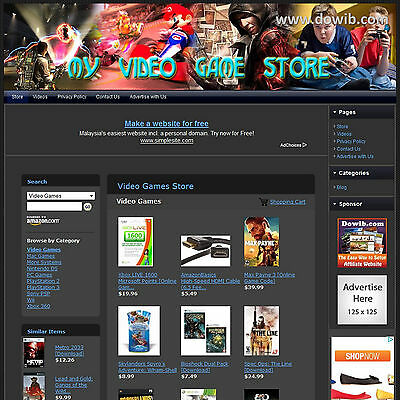 """Established """"Video Game Store"""" Affiliate Business Website For Sale! Free Domain!"""
