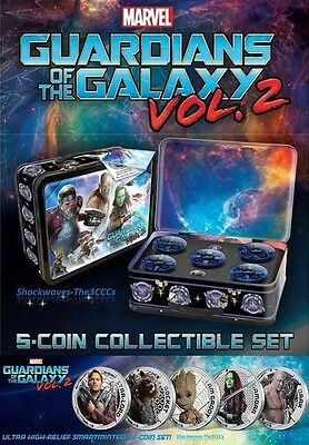 2017 C. Islands Marvel Guardians of Galaxy 5-Coin Silver Proof Set - 10% OFF