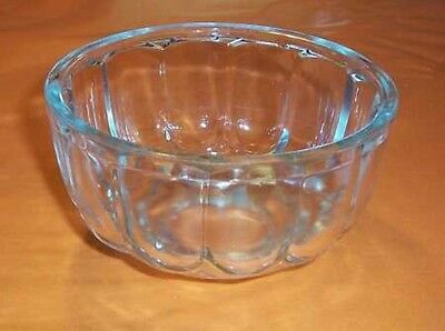 Jelly Mould, round, in depression clear glass, c.1950's