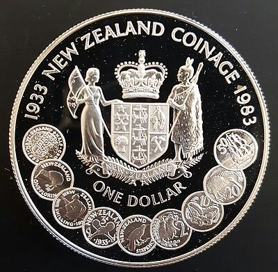 1983 NEW ZEALAND (NZ Coinage) PROOF SILVER DOLLAR....