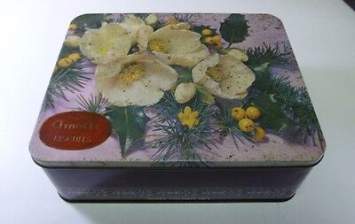 Arnott's 'White Camellias & Holly', rect., 3 lb. Biscuit Tin, c.1967