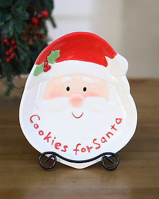 Plate Christmas Santa Cookies Festive Home Decor Gift Biscuit Dish 21cms NEW