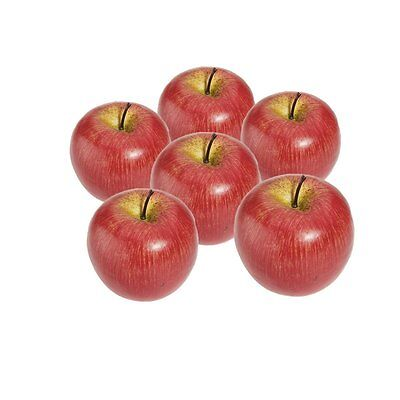 Decorative Artificial Apple Plastic Fruits Imitation Home Decor 6pcs Red