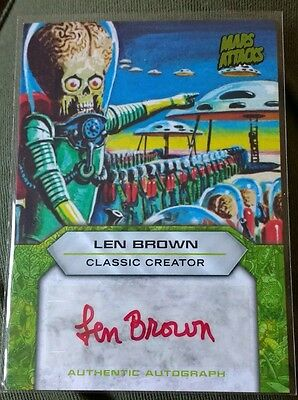 Mars Attacks Invasion, Len Brown autograph card 2013 (official signed auto Topps