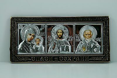 russian amulet icon st nicholas holly marry and jesus christ икона для машины