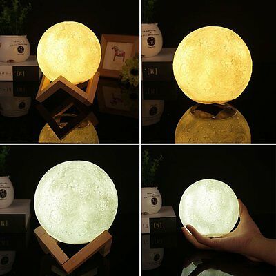 3D Printing Luna Night Light LED Moon Lamp Touch Control Lighting Kid Gift 10CM