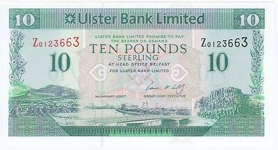 Ulster Bank Ltd. £10 Dated 2007,  Replacement Notes, Uncirculated
