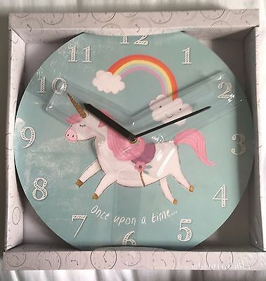 Magical Children's Round Unicorn & Rainbow Wall Clock Girls Bedroom Decoration