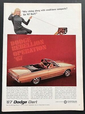Dodge Dart | 1966 Vintage Print Ad | Sports Car 1960s Style