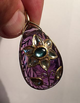 Huge 100ct Carved Amethyst & Diamond Mughal Style Jaipur Pendant. 18ct Gold.