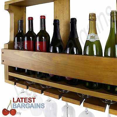 Timber Wine Rack 7 Bottle Wall Mounted Wooden Glass Rack Storage Stand Natural