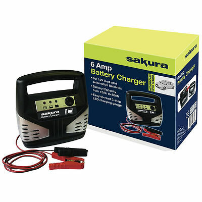 Sakura Car Battery Charger 12 Volt 6 Amp Up to 1.8 L Cars - Free Tracked Postage