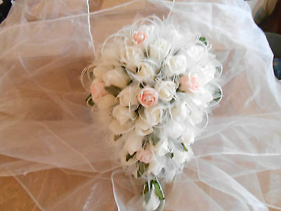 wedding flowers bouquet rose shimmer ivory pink organza teardrop  flower bride