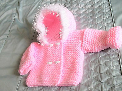 hand knitted pink chunky hooded jacket/coat newborn baby girl /reborn doll